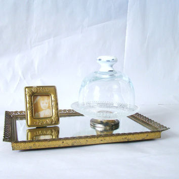 Beautiful and Elegant Glass Cloche Dome with wood distressed know and embellished Glass plate with metal tarnished stand