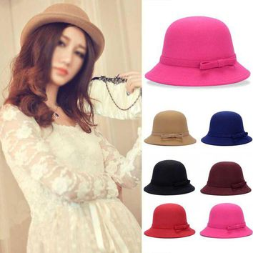 LMF78W Fashion Solid Women Fedora Hat Vintage Wool Bow Knot Winter Warm Caps Casual Elegant Ladies Party Beach Sun Hat Chapeau Femme F2