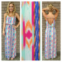 Aqua Pink Print Kenzie Maxi Dress