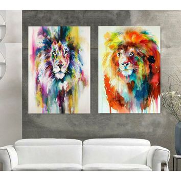 2PCS Canvas Art Watercolor Lion Painting Posters Modern Nordic Style Animals Wall Pictures Kids Room Bedroom Decor