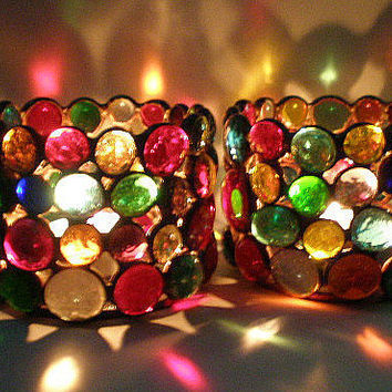 Stained Glass 2 Votive Candle Holders Multicolors