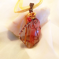 Fall Autumn vintage bronze and copper wire wrapped pendant necklace, double roses, clear colored red yellow glass agate, whimsy jewelry
