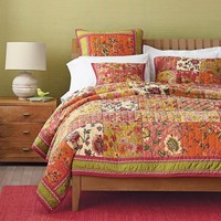 Dada Bedding Bed of Roses Bohemian Floral Orange & Pink Patchwork Quilted Bedspread Set (JHW569)