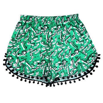 Hawaii Style Green Floral Printed Beach Tassel Shorts