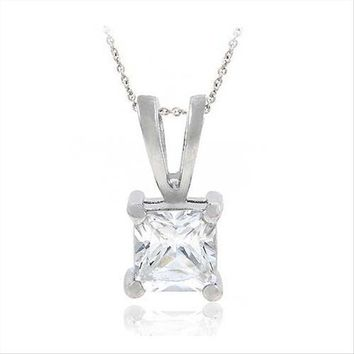 925 Sterling Silver 1.25ct Cubic Zirconia 6mm Square Solitaire Necklace