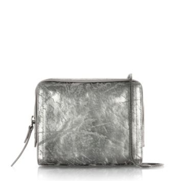 3.1 Phillip Lim Designer Handbags Gunmetal Metallic Leather Soleil Mini Zip Crossbody Bag