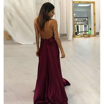 Sexy Evening Dress 2017 abiye gece elbisesi Sleeveless Front Slit Backless Satin Long Burgundy Prom