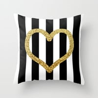 Glitter Loveheart Throw Pillow by Paper & Ink Prints
