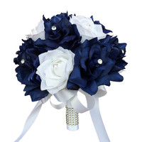 "9"" Bouquet - Navy Blue and White Rose Wedding Bouquet"