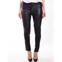 Black Snake Leather Pants