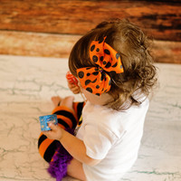Baby GIRLS HALLOWEEN BOW-Orange Black Glitter Polka Dot Hair Clip-Hair Bow-Hair Clip-Halloween