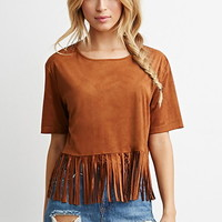 Faux Suede Fringe Top