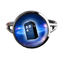 Dr Who Inspired Tardis Ring - Blue Swirl - Public Police Box Jewelry - Geeky Whovian