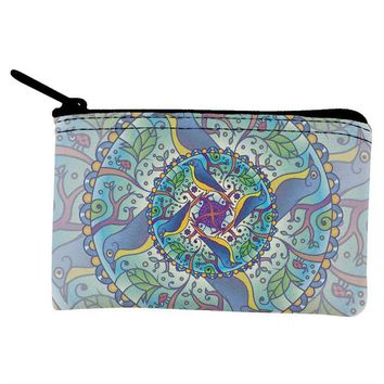 DCCKJY1 Mandala Trippy Stained Glass Spring Birds Coin Purse
