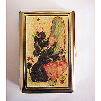 retro poodle metal wallet vintage 1950's rockabilly cigarette case kitsch business card holder