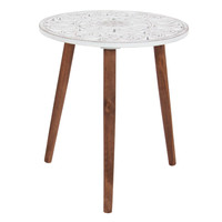 Benzara Wood Carved Tripod Accent Table