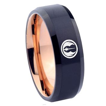 8mm Star Wars Jedi Bevel Tungsten Carbide Rose Gold Men's Wedding Ring