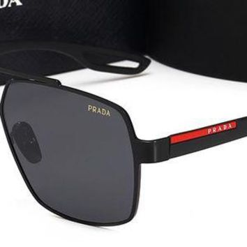 Prada trend retro polarized men and women large frame polarized sunglasses