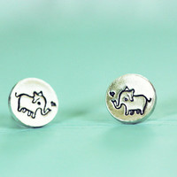 Tiny ELEPHANT EARRINGS, retro sterling silver elephant stud ear rings, by boygirlparty - ecofriendly jewelry