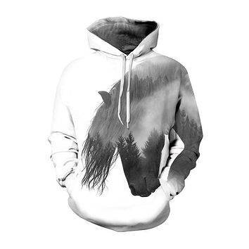 Plus Size Horse Print 3d Hoodies Sweatshirt Men Women Harajuku Animal Punk Thin Streetwear With Cap Masculino Dropship