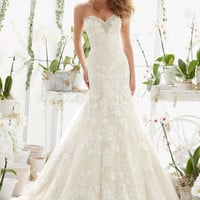 Mori Lee 2817 Strapless Lace Fit & Flare Wedding Dress