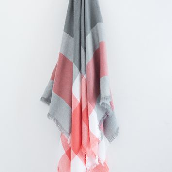 Grey Color Block Plaid Blanket Scarf