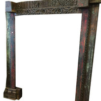 Antique Indian Arch welcome gate Hand Carved Architecture Spanish Mediterranean Rustic Old world Unique