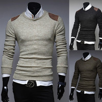 Shoulder Patch Men's New Knit Sweater