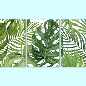 Banana Leaf Art, Tropical Wall Art for Office, Green Bedroom Decor, Bathroom Watercolor Ferns Art PRINTS or CANVAS, Set of 3, Palm Leaves