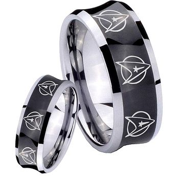 His and Hers Multi Star Trek Concave Black Tungsten Mens Ring Engraved Set