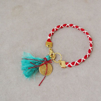 Red white  March bracelet, Greek folk bracelet, red and white Martis bracelet with gold coin charm and turquoise tassel, braided boho cuff