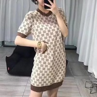 """Gucci"" Temperament Fashion Retro Multicolor GG Letter Logo Short Sleeve Dress"