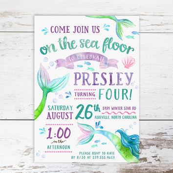 Mermaid Birthday Invitation, Fourth Birthday, Under the Sea Purple and Teal Custom Invitations- Printed or Digital