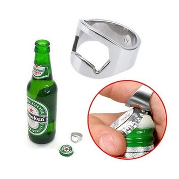 Stainless Steel Finger Ring Handy Beer Bottle Opener Silver Tone (Size: 22 cm, Color: Silver) = 1705677892