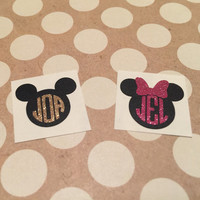 GLITTER Minnie Monogram | Mickey Monogram | Disney Inspired Monograms | Disney Vinyl Decals | Disney Vacation Decal | First Disney Trip