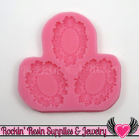 Clover Cameo Setting SILICONE MOLD, Fits 23x16mm, Food Grade
