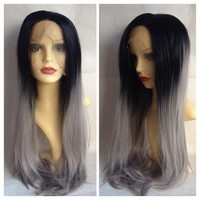 Silver Flash, Black Silver Gradient Dip Dye Ombré Lace Front Gothic Lolita Cosplay Wig