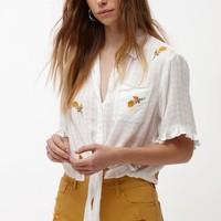 LA Hearts Rose Embroidered Button Down Top at PacSun.com