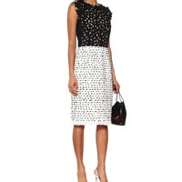 Tweed and guipure lace shift dress