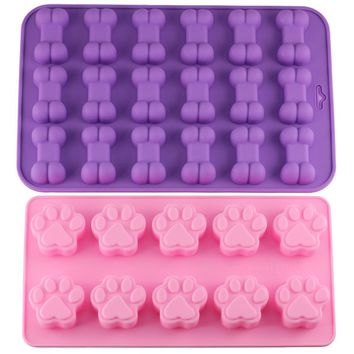 2 Dog Bone Shape Biscuit Mold Trays