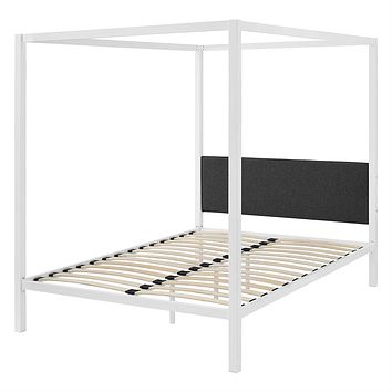 Queen size White Metal Canopy Bed Frame with Grey Fabric Upholstered Headboard