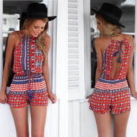 Women Boho Sleeveless Floral Printed Round Collar Backless Jumpsuit Short Dress Beach Playsuit Romper S-XL = 5618505409