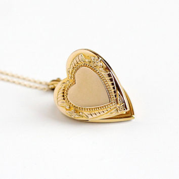 Vintage 10k Yellow Gold Filled Heart Locket Necklace - Late Art Deco Dainty 1940s Sweetheart Pendant Romantic Flower Floral Leaf Jewelry
