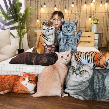 3D Plush Cat & Tiger Pillows Soft Stuffed Animal Cushions - 1pc 50/70cm - 19.7/27.6in