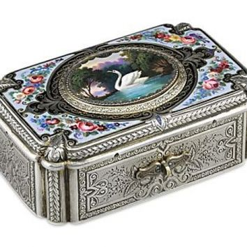 Silver and Enamel Fuseé Singing Bird Box by Charles Bruguier - Objets D'Art, Since 1912 | M.S. Rau Antiques