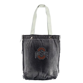 NCAA Ohio State Buckeyes Vintage Shopper with Crystals, 13 x 14-Inch, Denim
