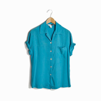 Vintage Beach Blue Silk Shirt - women's  small
