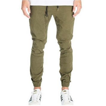 Skinny Joggers Men Slim Fit Jogger Pants Cotton Twill New 2017 Male Army Green & Wine Red Pants Hiphop Free Shipping