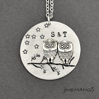 two owls on the tree, Personalized night OWLS with initial necklace, Custom necklace, owl necklace, love, couple initial necklace, monogram
