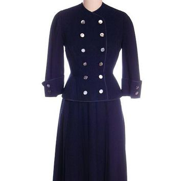 Vintage Navy Gab Suit Double Breasted Blums 1940s Sz 4 36-25-Free